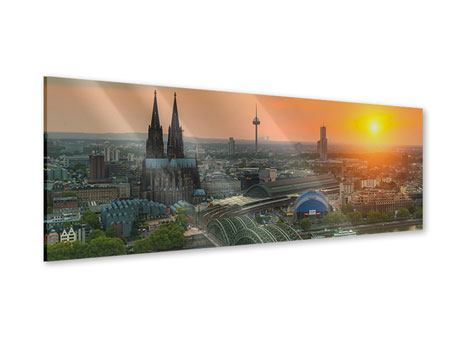 Panoramic Acrylic Print Skyline Cologne At Sunset