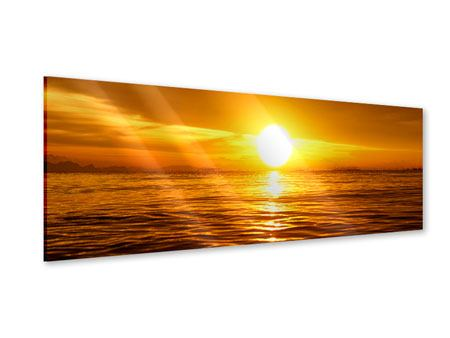 Panoramic Acrylic Print Glowing Sunset On The Water