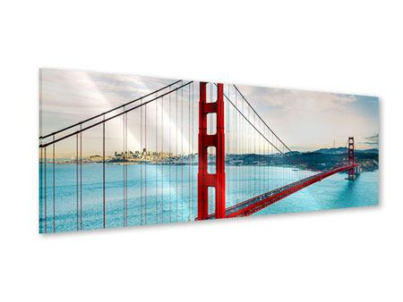 Panoramic Acrylic Print Red Golden Gate Bridge