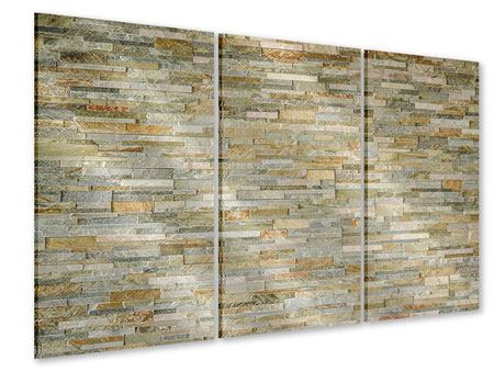 3 Piece Acrylic Print Noble Stone Wall