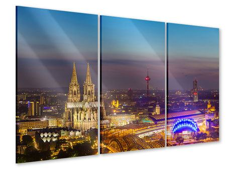 3 Piece Acrylic Print Skyline Cologne Cathedral At Night