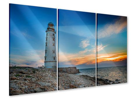 3 Piece Acrylic Print Sunset At The Lighthouse