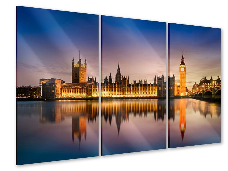 3 Piece Acrylic Print Big Ben At Night