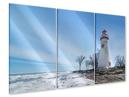 3 Piece Acrylic Print Lighthouse In Snow