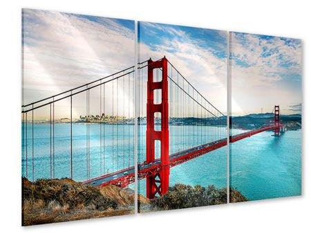 3 Piece Acrylic Print Red Golden Gate Bridge