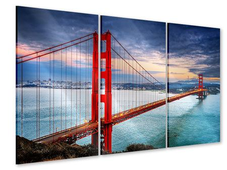 3 Piece Acrylic Print The Golden Gate Bridge At Sunset