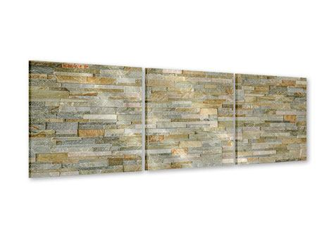 Panoramic 3 Piece Acrylic Print Noble Stone Wall