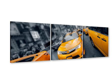 Panoramic 3 Piece Acrylic Print Taxi In NYC