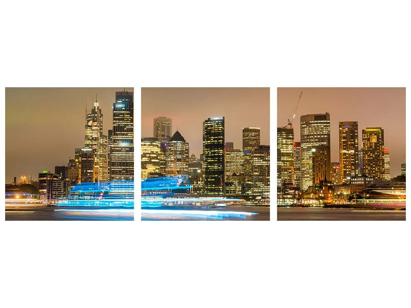 Panoramic 3 Piece Acrylic Print Skyline Sydney At A Sea Of Lights