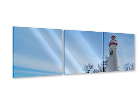 Panoramic 3 Piece Acrylic Print Lighthouse In Snow