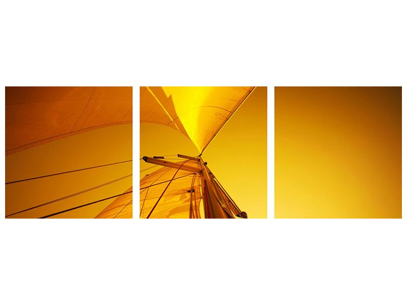 Panoramic 3 Piece Acrylic Print Sailboat In The Sunset
