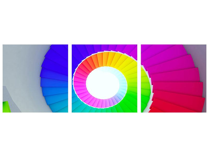 Panoramic 3 Piece Acrylic Print Colorful Spiral Staircase 3D