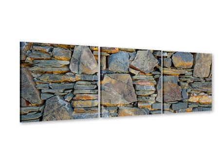 Panoramic 3 Piece Acrylic Print Natural Stone Wall