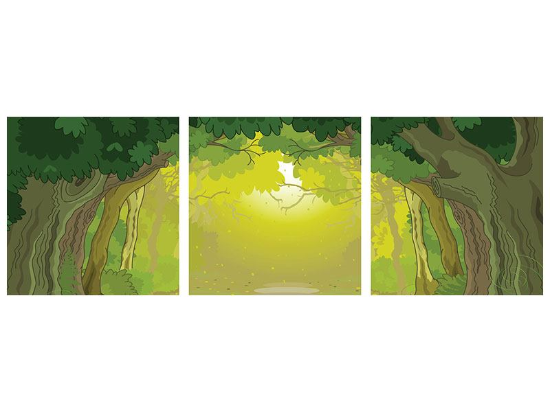 Panoramic 3 Piece Acrylic Print Fairy Tales Forest