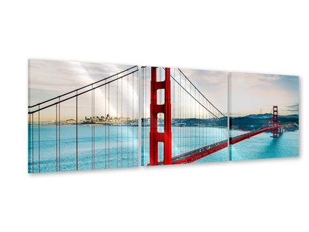 Panoramic 3 Piece Acrylic Print Red Golden Gate Bridge