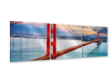 Panoramic 3 Piece Acrylic Print The Golden Gate Bridge At Sunset