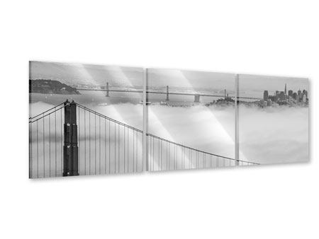 Panoramic 3 Piece Acrylic Print Golden Gate Bridge
