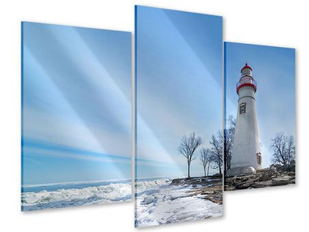 Modern 3 Piece Acrylic Print Lighthouse In Snow