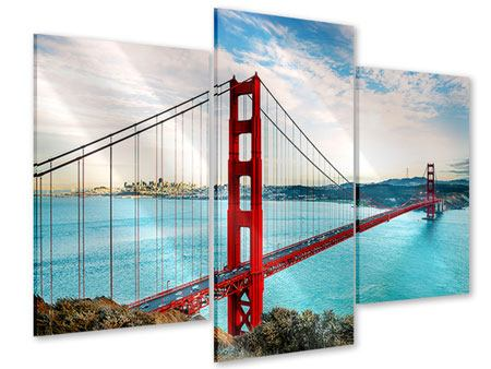 Modern 3 Piece Acrylic Print Red Golden Gate Bridge