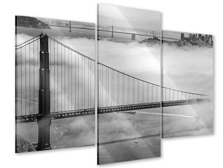 Modern 3 Piece Acrylic Print Golden Gate Bridge