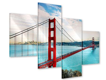Modern 4 Piece Acrylic Print Red Golden Gate Bridge