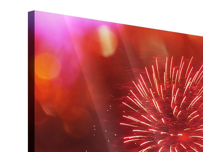 4 Piece Acrylic Print Colorful Fireworks