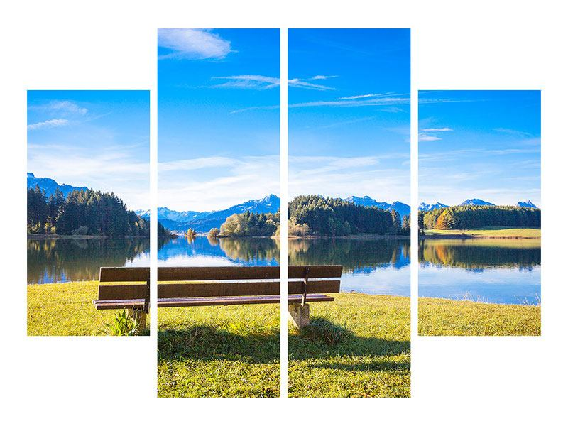 4 Piece Acrylic Print Bench With Mountain Panorama