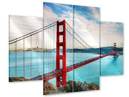 4 Piece Acrylic Print Red Golden Gate Bridge