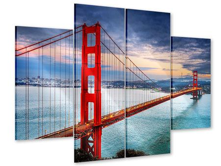 4 Piece Acrylic Print The Golden Gate Bridge At Sunset