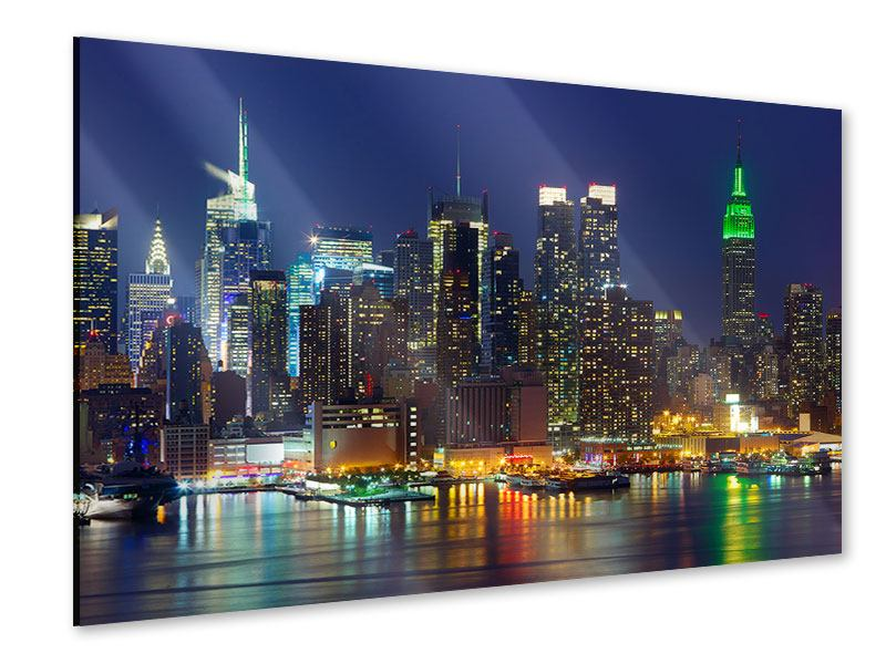 Acrylic Print Skyline New York Midtown At Night