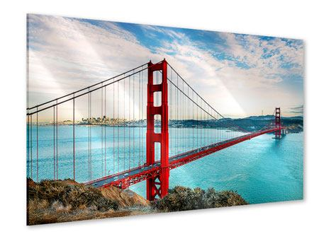 Acrylic Print Red Golden Gate Bridge