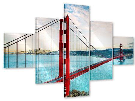 5 Piece Acrylic Print Red Golden Gate Bridge