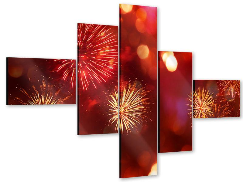 Modern 5 Piece Acrylic Print Colorful Fireworks