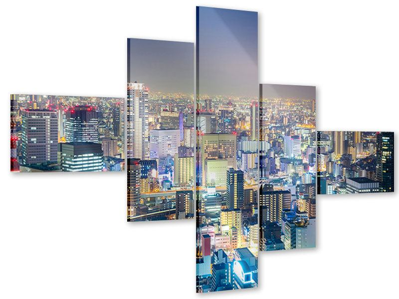 Modern 5 Piece Acrylic Print Skyline Osaka At Sunset