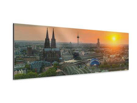 Panoramic Aluminium Print Skyline Cologne At Sunset
