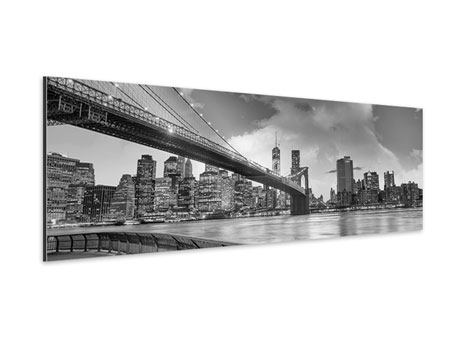 Panoramic Aluminium Print Skyline Black And White Photography Brooklyn Bridge NY
