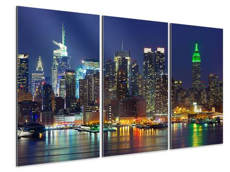 3 Piece Aluminium Print Skyline New York Midtown At Night