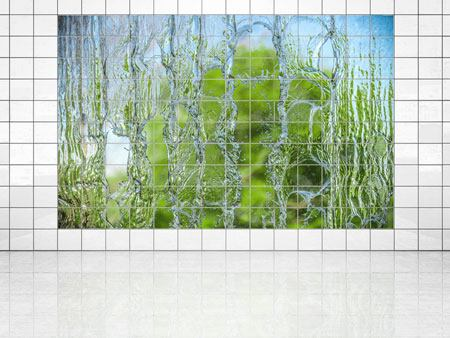 Tile Print Behind The Waterfall