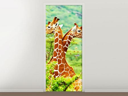 Door Mural Giraffes Love