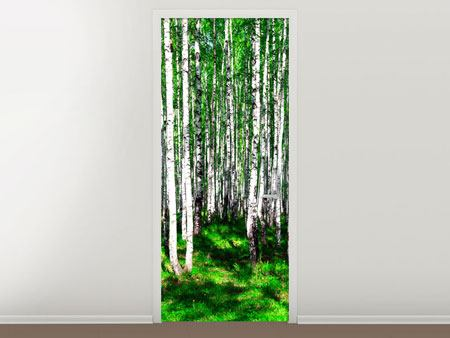 Door Mural Summerly Birch Forest