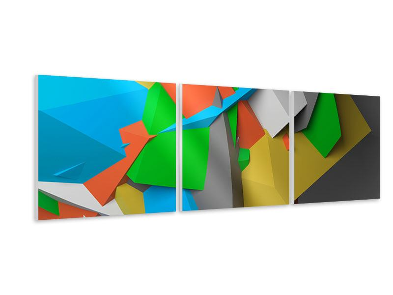 Panoramic 3 Piece Forex Print 3D-Geometric Figures