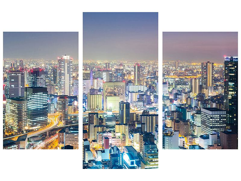 Modern 3 Piece Forex Print Skyline Osaka At Sunset
