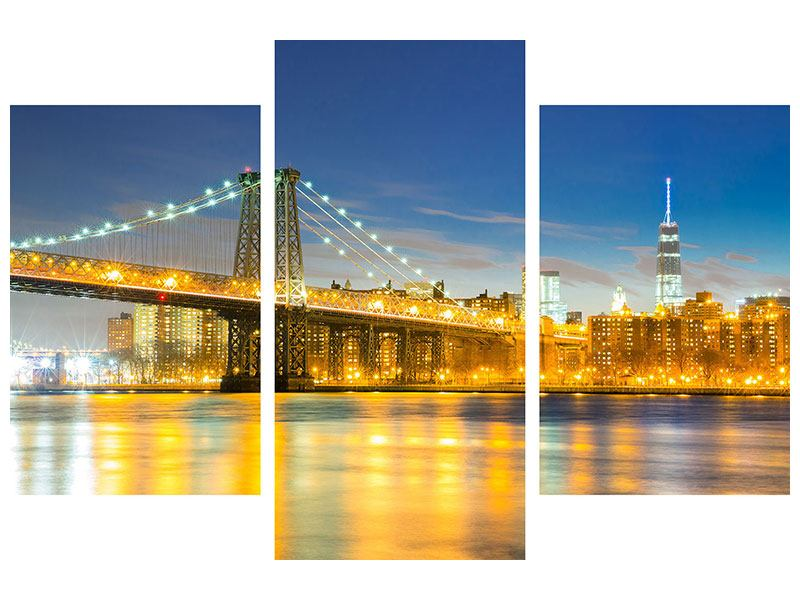 Modern 3 Piece Forex Print Brooklyn Bridge At Night