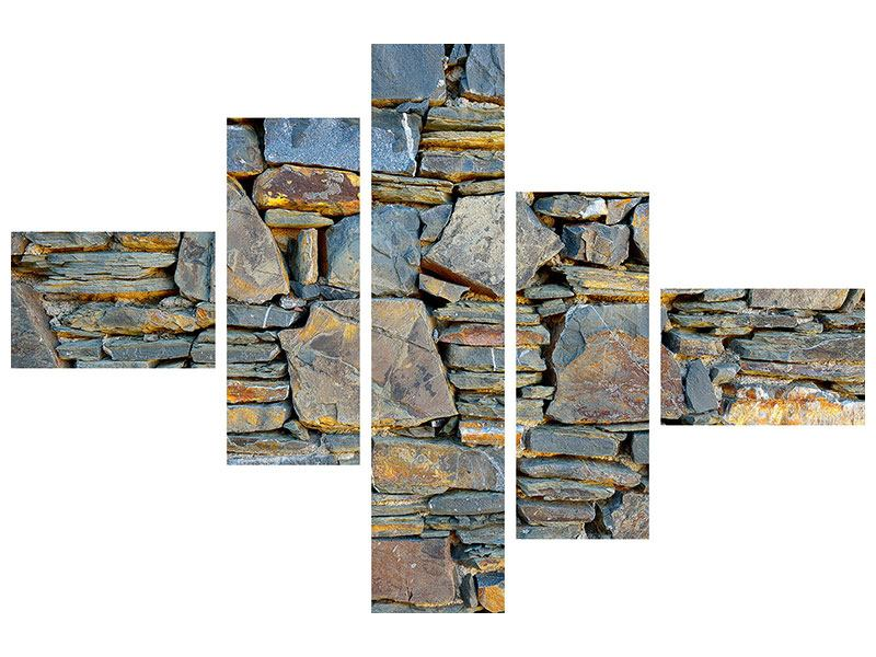 Modern 5 Piece Forex Print Natural Stone Wall