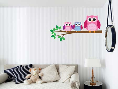 Wall Sticker 3 cute owls