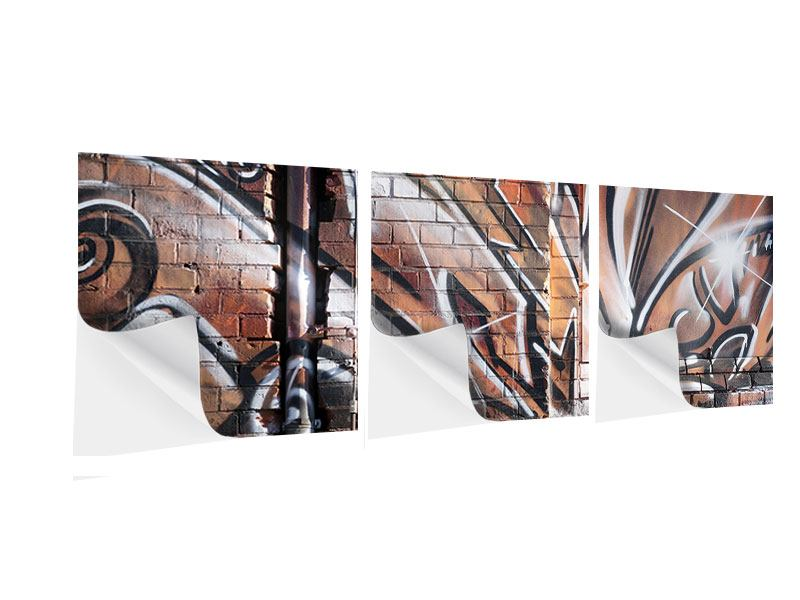 Panoramic 3 Piece Self-Adhesive Poster Graffiti Wall