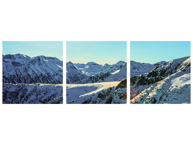 Panoramic 3 Piece Self-Adhesive Poster Sunny Mountain Peaks In Snow