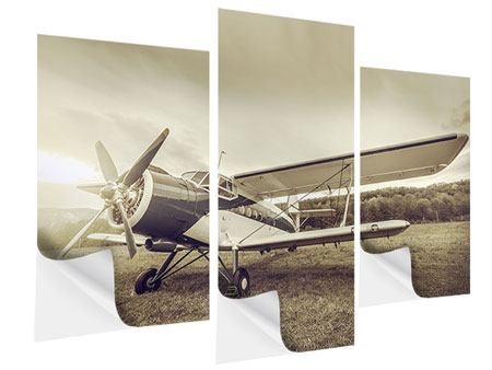 Modern 3 Piece Self-Adhesive Poster Nostalgic Aircraft In Retro Style