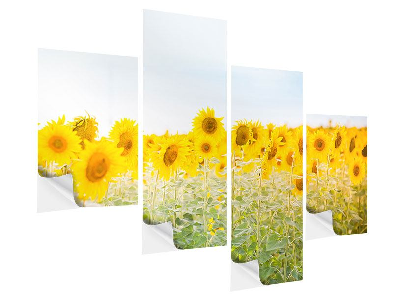 Modern 4 Piece Self-Adhesive Poster In the Sunflower Field