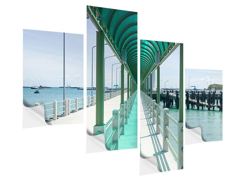 Modern 4 Piece Self-Adhesive Poster The Bridge On The Sea